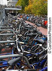 The bike parking near the railway station