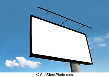 The billboard on the blue sky background