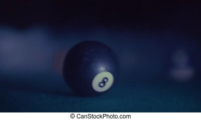 The billiard ball number 8th in smoke