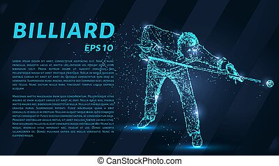The billiard particle. Man playing Billiards. Silhouette of dots and circles. Vector illustration.