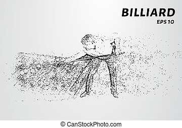 The billiard particle. Man playing Billiards. Vector illustration