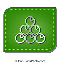 The billiard sign. Silver gradient line icon with dark green shadow at ecological patched green leaf. Illustration.