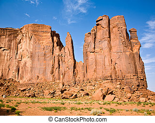 """""""The Bird"""" and """"The Hand"""" Butte are giant sandstone..."""