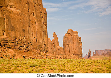 The Bird and the Hand Buttes are giant sandstone formations...