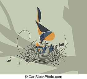 The bird feeds the chicks in the nest n forest background