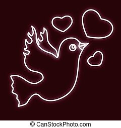 The bird is of a dove with hearts.