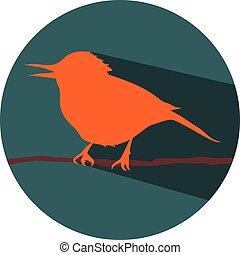 the bird on branch flat design