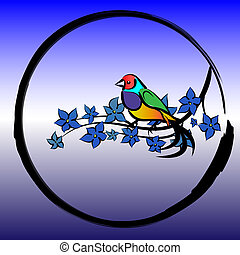 the bird sits on a branch with leaves in a circle