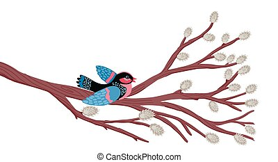 The bird sits on a willow branch. Spring pattern. Vector illustration.