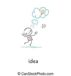 The birth of an idea. Illustration.