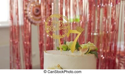 The birthday cake sweets table decoration child 7 years gold number