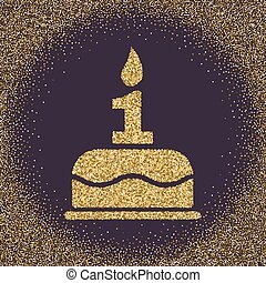 The birthday cake with candles in the form of number 1. Birthday symbol. Gold sparkles and glitter