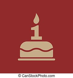The birthday cake with candles in the form of number 1 icon. Birthday symbol. Flat
