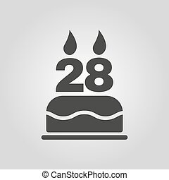 The birthday cake with candles in the form of number 28... eps ... on