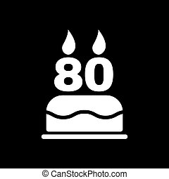 The birthday cake with candles in the form of number 80 icon...