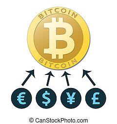 The bitcoin future. Golden bitcoin virtual currency.