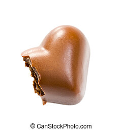 the bitten chocolate heart on white background