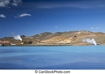 The Bjarnarflag Geothermal Power Station in the Lake Myvatn ...