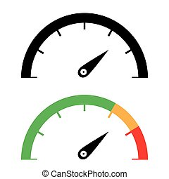 The black and color speedometer icon. - The black and color ...
