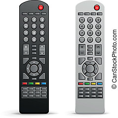 The black and white tv remote controller on the white background