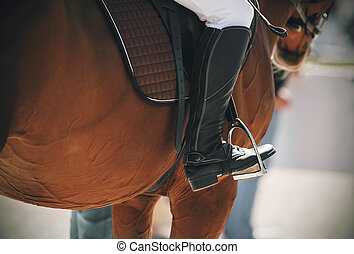 The black boot of the rider rests on a metal stirrup