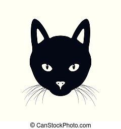 The black cat face vector illustration