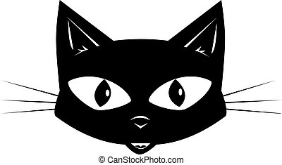 The black cat - Face of a black cat for a sticker or a mask