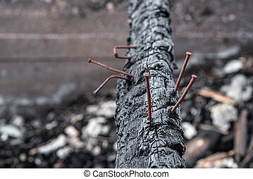 The black charred log of the burned-down house with the sticking-out rusty nails