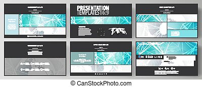The black colored minimalistic vector illustration of the editable layout of high definition presentation slides design templates. Chemistry pattern. Molecule structure. Medical, science background.