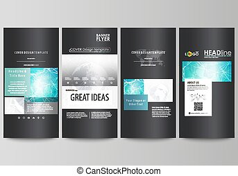 The black colored minimalistic vector illustration of editable layout of four vertical banners, flyers design business templates. Chemistry pattern. Molecule structure. Medical, science background.