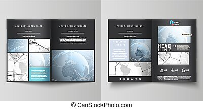 The black colored vector illustration of editable layout of two A4 format modern covers design templates for brochure, flyer, booklet. World globe on blue. Global network connections, lines and dots.
