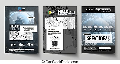 The black colored vector illustration of the editable layout of A4 format covers design templates for brochure, flyer, booklet. World globe on blue. Global network connections, lines and dots.
