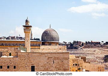 The black dome of the Al-Aqsa Mosque
