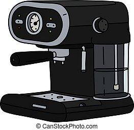 The black electric espresso maker