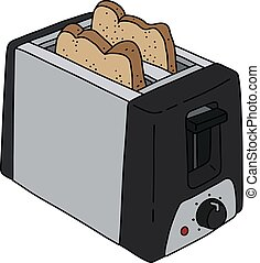 The black electric toaster