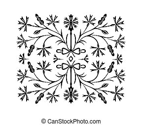 The black flower pattern is drawn by hand