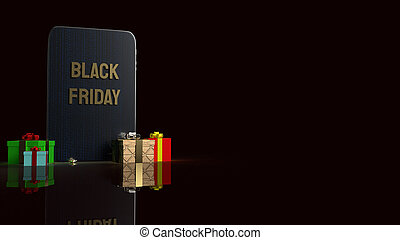 Black Friday text on tablet for holiday shopping  3d rendering.