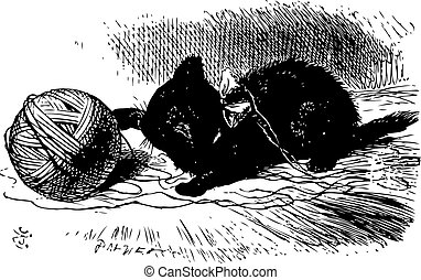 The black kitten with a ball of twine, Through the looking...