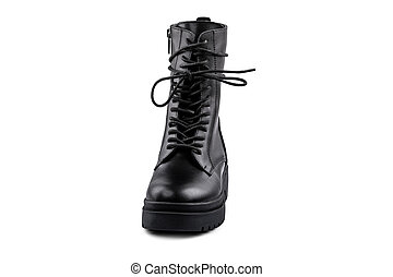 The Black leather boot isolated on white background