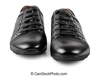 black men's shoes isolated on white background