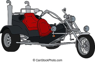 The black motor tricycle - The hand drawing of a black heavy...