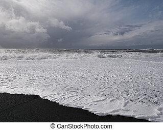 The black sand beach at the Icelandic coast