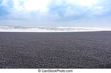 The black sand beach ,Iceland .