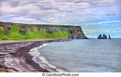 The Black Sand Beach of Vik in Iceland