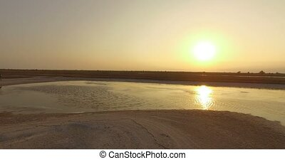 The Black Sea Coast With Patches of Brownish Wetland at a Splendid Sunset