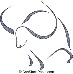 The black silhouette of a bull in a grunge style on white background. Stock vector illustration.