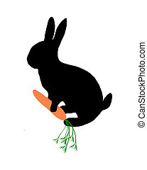 The black silhouette of a bunny with carrot on white
