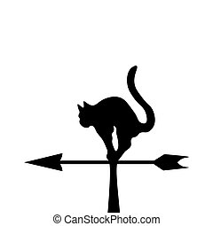 The black silhouette of a cat in a wind vane Vector...