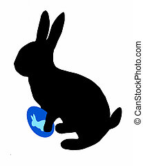 The black silhouette of a easter bunny with easter egg