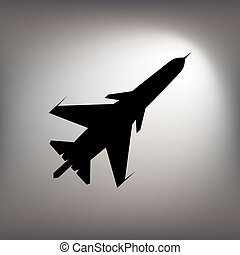 The black silhouette of a fighter plane.